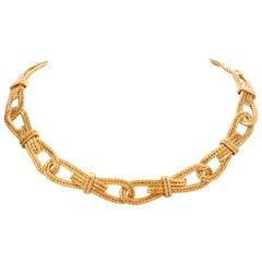 Buccellati Vintage Woven 18 Karat Textured Link Choker Collar Gold Necklace