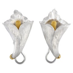 Buccellati White and Yellow Gold Flower Clip-On Earrings