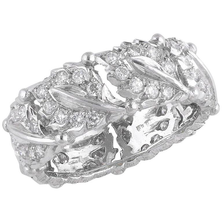 Buccellati White Gold and Cluster Diamonds Band Ring In Excellent Condition For Sale In Firenze, IT