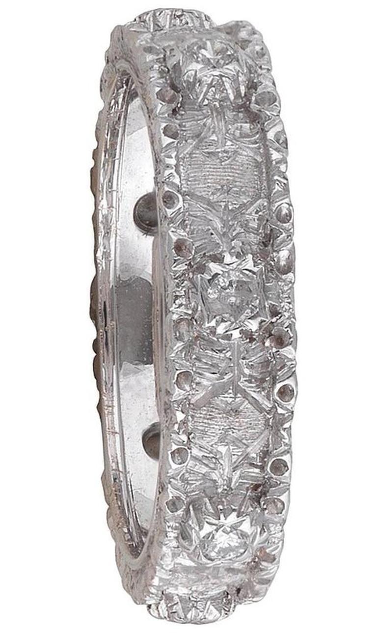 BERNARDO ANTICHITÀ PONTE VECCHIO FLORENCE White gold and Diamond textured band ring, total 8 diamonds, size 61\4, weight 3,3 gr.