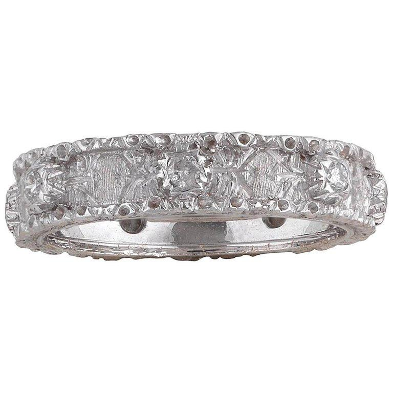 Buccellati White Gold and Diamond Band Ring In Excellent Condition For Sale In Firenze, IT