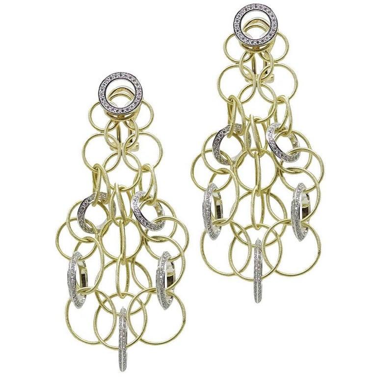 Buccellati Yellow Gold and Diamond Hawaii Collection Earrings
