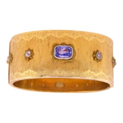 Buccellati Yellow Gold and Rose Cut Diamond Cuff Bracelet with Sapphire Center