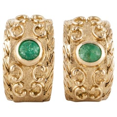 Buccellati Yellow Gold Emerald Earrings
