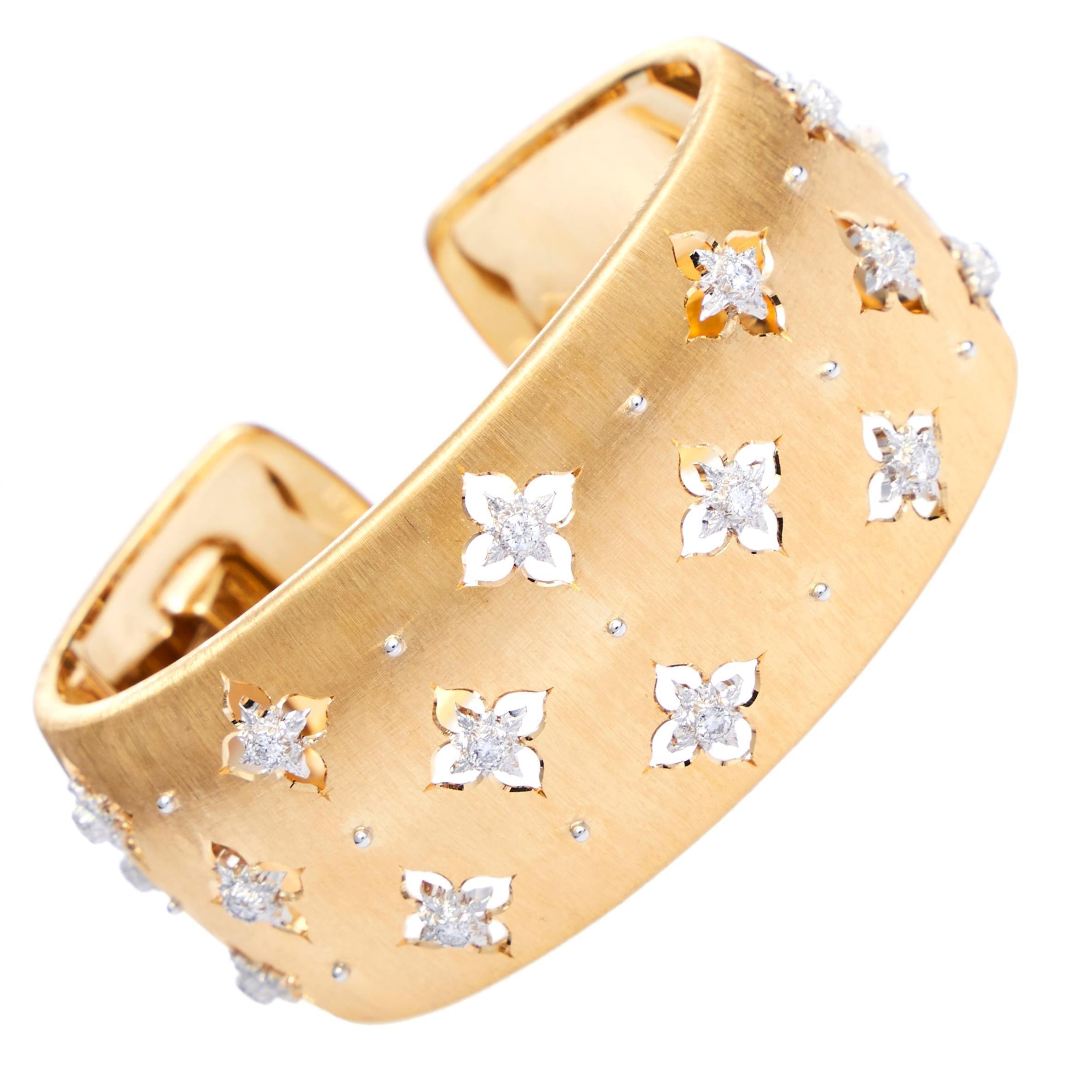 Buccellati Yellow Gold Macri Cuff Bracelet Wide with Diamonds