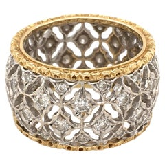 Buccellati Yellow Gold, White Gold and Diamond Band Ring