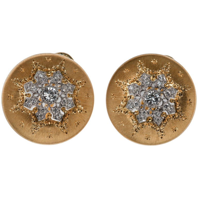 Buccellatti Button Yellow Gold Earrings For Sale