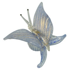 Bucella Cristalli Murano Blue and Gold Butterfly