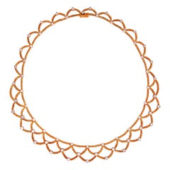 Bucellati Ondine Yellow Gold and Diamond Necklace