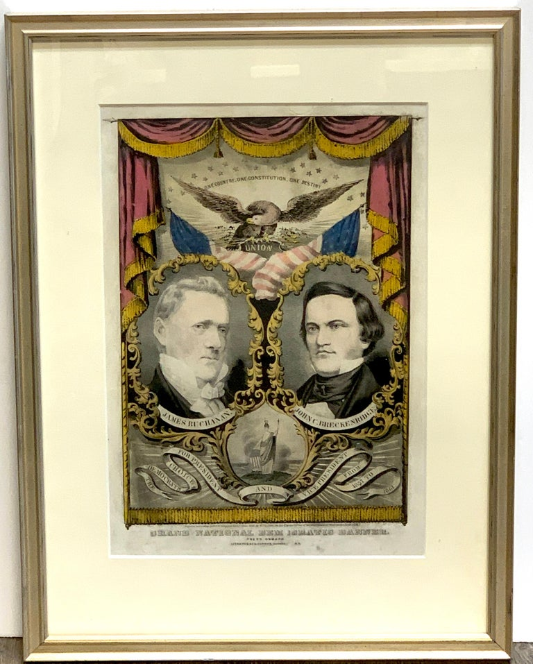 Buchanan & Breckenridge, 1856 Grand National Democratic Banner, by N. Currier Rare hand-colored lithograph with American eagle with wings spread and captioned