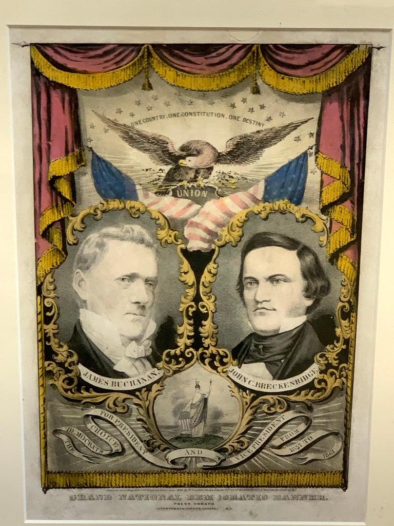 High Victorian Buchanan & Breckenridge, 1856 Grand National Democratic Banner, by N. Currier