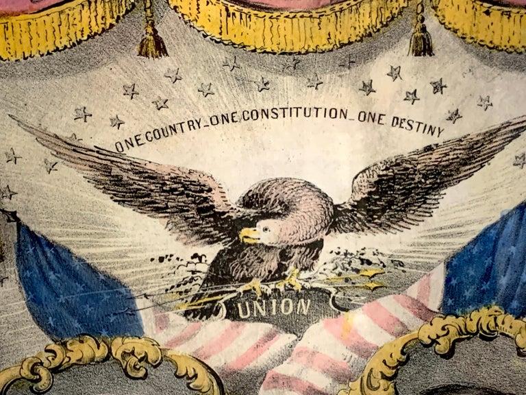 Buchanan & Breckenridge, 1856 Grand National Democratic Banner, by N. Currier In Good Condition In West Palm Beach, FL