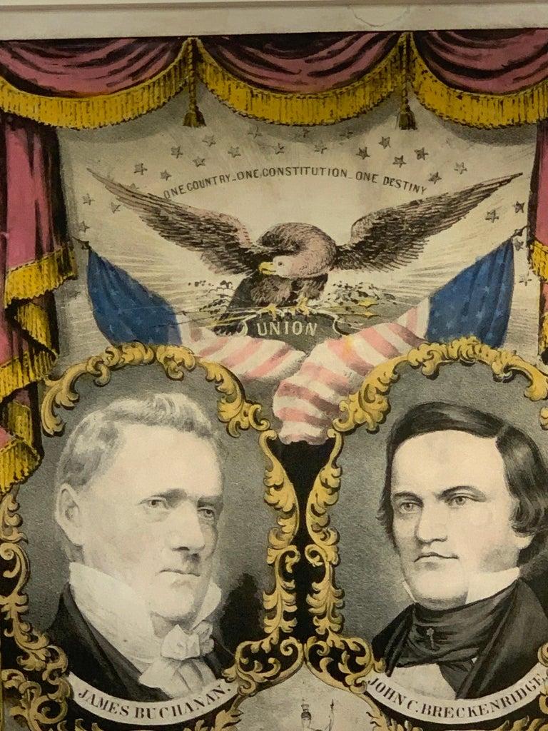 19th Century Buchanan & Breckenridge, 1856 Grand National Democratic Banner, by N. Currier