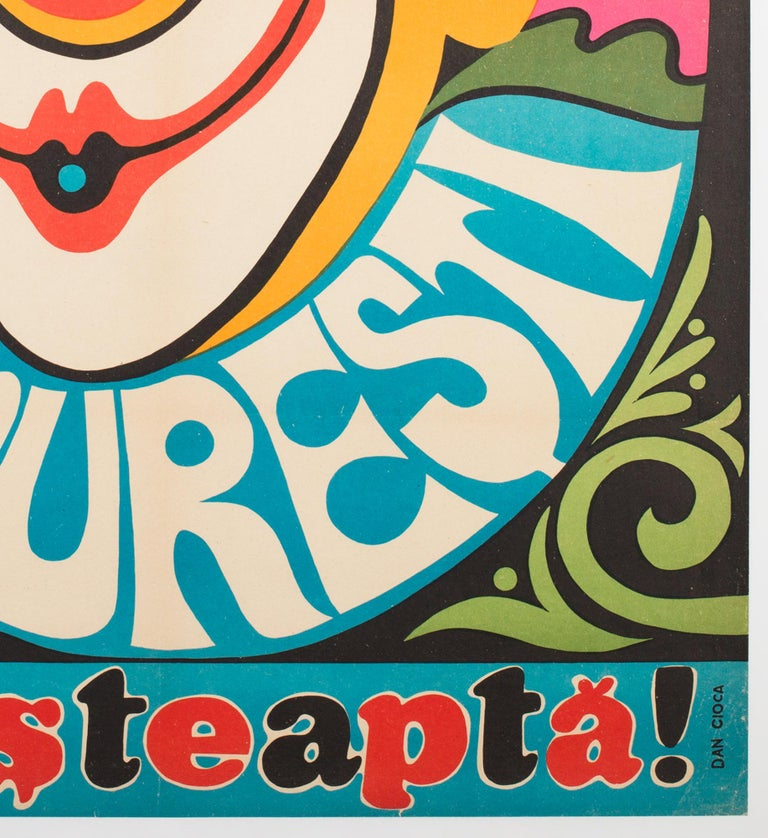 Bucharest Clown 1974 Hungarian Circus Poster In Good Condition For Sale In Bath, Somerset