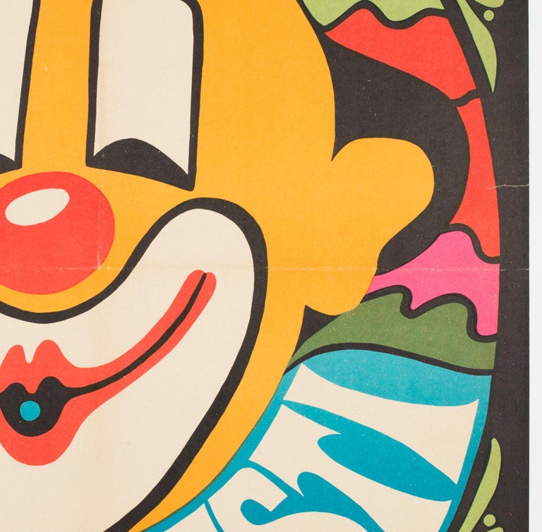 Linen Bucharest Clown 1974 Hungarian Circus Poster For Sale