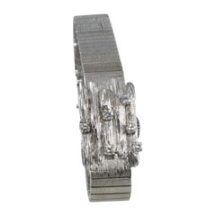 Bucherer 14 Karat Solid White Gold Art Deco Evening Watch with Covered Lid