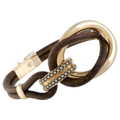 Bucherer 18 Karat Gold Brown Diamonds and Brown Leather Large Double Loop Bangle