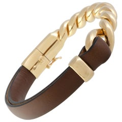 Bucherer 18 Karat Rose Gold and Brown Leather Bangle Bracelet