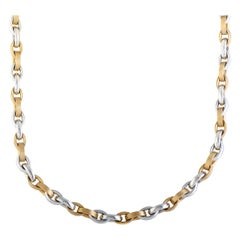 Bucherer 18 Karat White and Rose Gold Marquise Link Choker Necklace