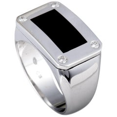 Bucherer 18 Karat White Gold 4 Diamond and Onyx Rectangle Signet Ring