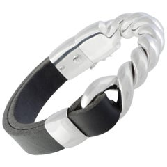 Bucherer 18 Karat White Gold and Black Leather Bangle Bracelet