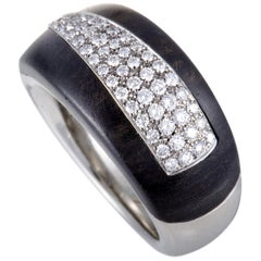 Bucherer 18 Karat White Gold Diamond Pave and Blackwood Band Ring