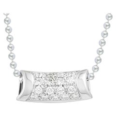 Bucherer 18 Karat White Gold Diamond Pave Pendant Necklace