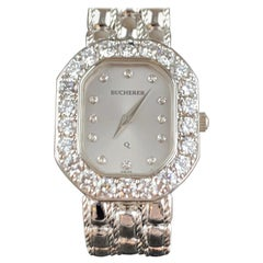 Bucherer 18 Karat White Gold Ladies Diamond Watch
