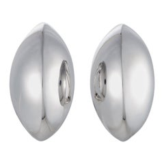 Bucherer 18 Karat White Gold Large Bombe Huggie Omega/Clip-On Earrings
