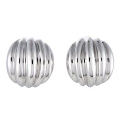 Bucherer 18 Karat White Gold Ribbed Huggie Omega/Clip-On Earrings
