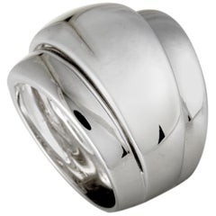 Bucherer 18 Karat White Gold Split Wide Band Ring