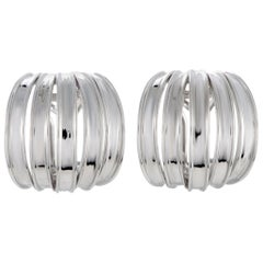Bucherer 18 Karat White Gold Wide Multi-Split Huggie Omega/Clip-On Earrings