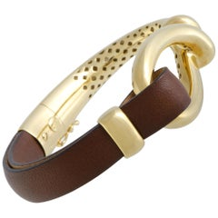 Bucherer 18 Karat Yellow Gold Loop Brown Leather Bangle Bracelet