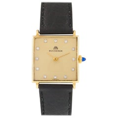 Bucherer 18k Gold Men's Hand-Winding Watch with Diamond Dial and Leather Band
