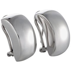 Bucherer 18 Karat White Gold Huggie Clip-On/Omega Back Earrings