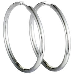 Bucherer 18 Karat White Gold Large Hoop Earrings