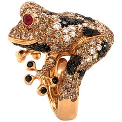 Bucherer Diamond and Ruby Rose Gold Frog Ring