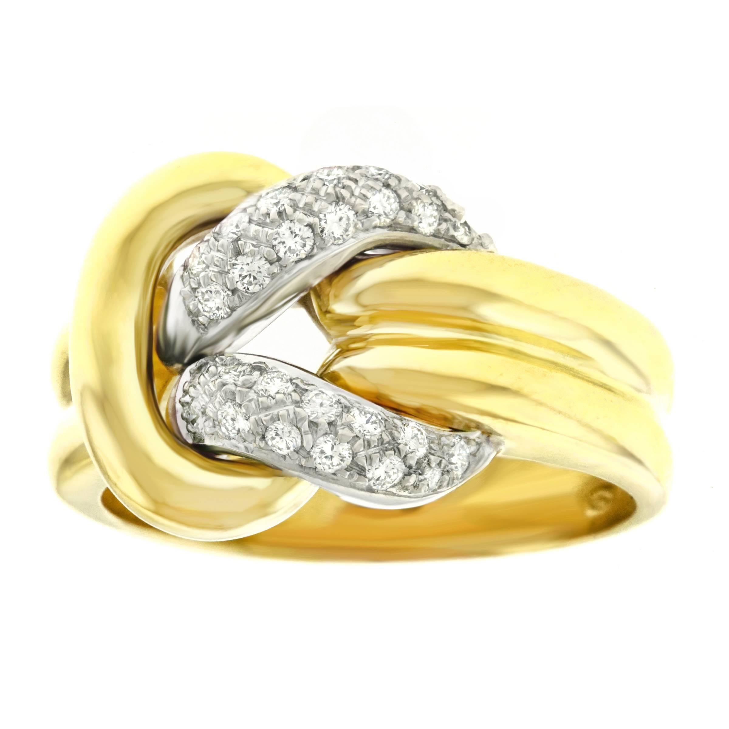 in white ring fashion tw cluster everlon diamond gold knot