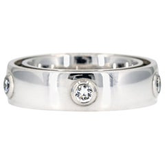 Bucherer Dizzler 18 Karat White Gold Dizzler Diamond Rotating Band Ring