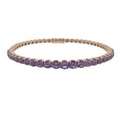 Bucherer Gold Amethyst Bangle Bracelet