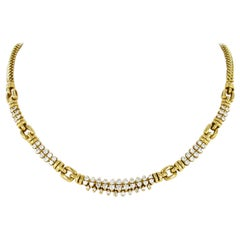 Bucherer Gold and Diamond Necklace in 18 Karat Yellow Gold