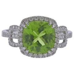 Bucherer Gold Diamond 3.02ct Peridot Ring
