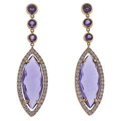 Bucherer Gold Diamond Amethyst Drop Earrings