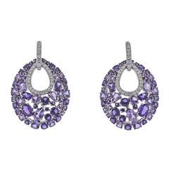 Bucherer Gold Diamond Amethyst Earrings