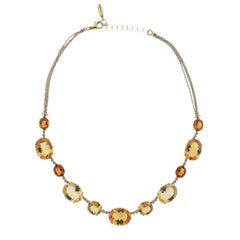 Bucherer Gold Diamond Citrine Necklace