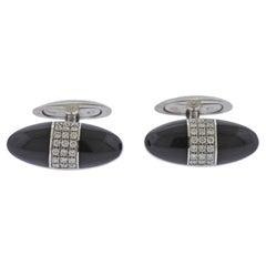 Bucherer Gold Diamond Onyx Cufflinks