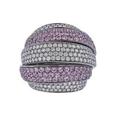 Bucherer Gold Diamond Pink Sapphire Dome Ring