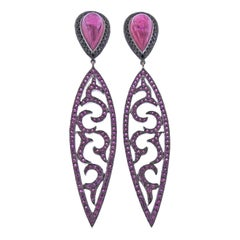 Bucherer Gold Diamond Pink Sapphire Tourmaline Drop Earrings
