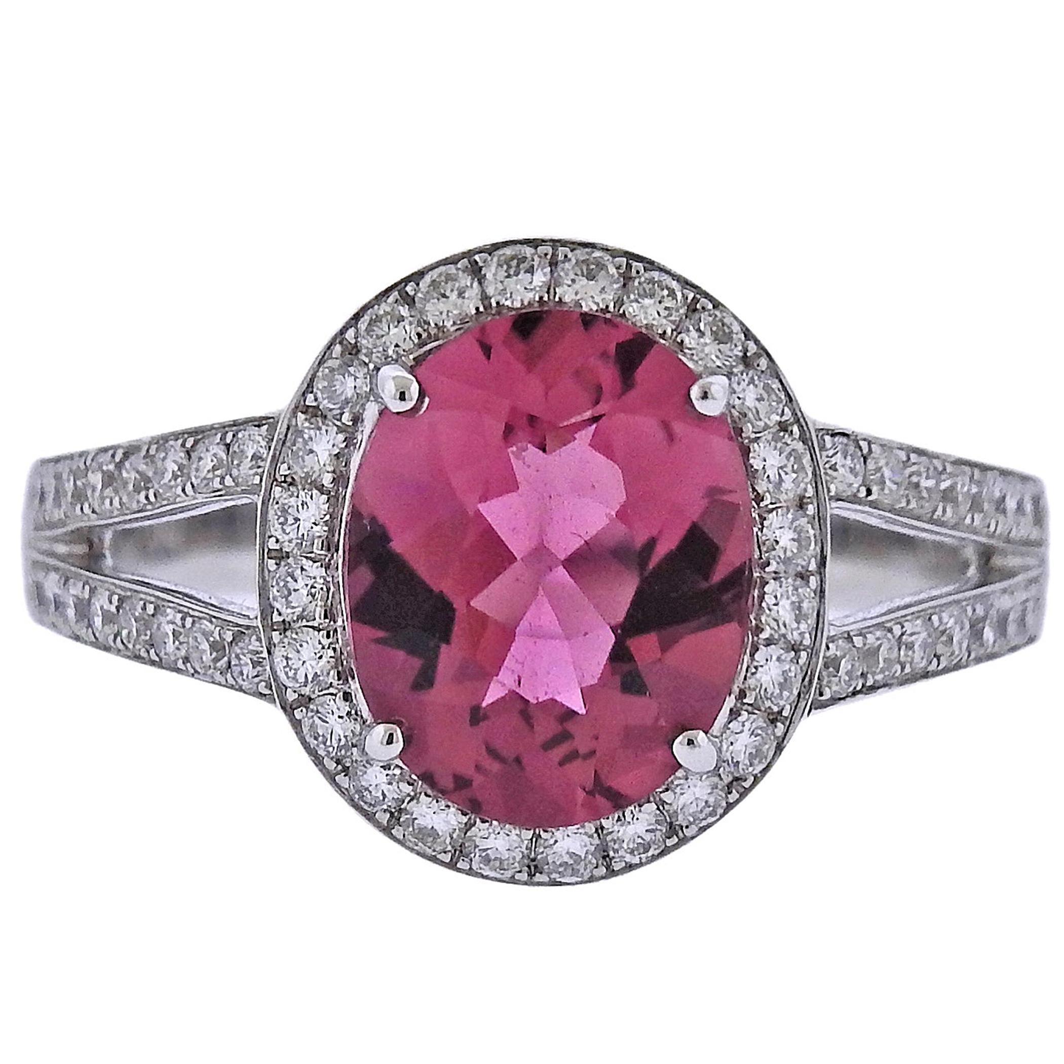 Bucherer Gold Diamond Pink Tourmaline Ring