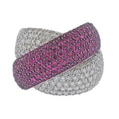Bucherer Gold Diamond Ruby Crossover Ring